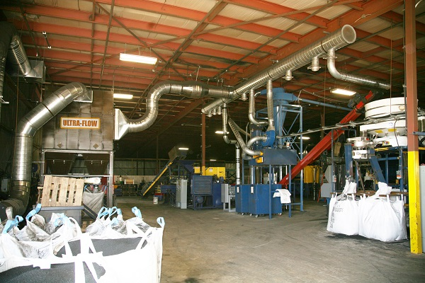 small baghouse dust collector installed inside factory